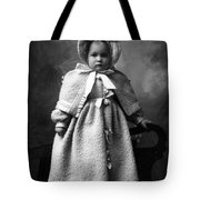 Girl Posing In Winter Coat 1903 Black White Tote Bag