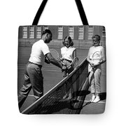 Girls Getting Tennis Lesson Circa 1960 Black Tote Bag