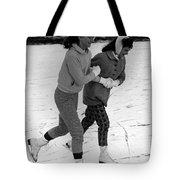 Girls Ice Skating Circa 1960 Black White 1950s Tote Bag