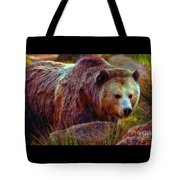 Grizzly Bear In Rocks Tote Bag