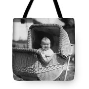 Happy Baby In Wicker Buggy Fall 1925 Black White Tote Bag