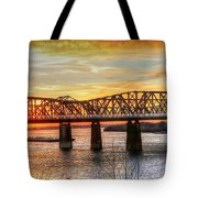 Harahan Bridge In Memphis,tennessee At Sunset Tote Bag