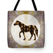Horse Prancing Abstract Graphic Filled Cartoon Humor Faces Download Option For Personal Commercial  Tote Bag