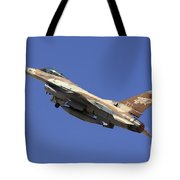 Iaf F-16a Fighter Jet On Blue Sky Tote Bag