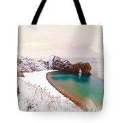 Illustration Of  The Durdle Door In Snow Tote Bag