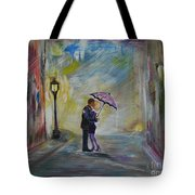 Kiss Me Taxi Is Here Tote Bag by Leslie Allen
