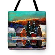 Laurentian Landscape Quebec Winter Scene Tote Bag
