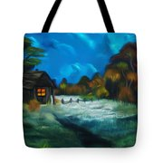 Little Pig's Barn In The Moonlight Dreamy Mirage Tote Bag