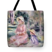 Madame Renoir And Her Son Pierre Tote Bag by Pierre Auguste Renoir