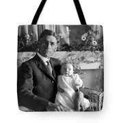 Man Male Holding Baby 1910s Black White Archive Tote Bag