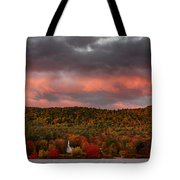 New England Fall Foliage Over The Small White Church Tote Bag
