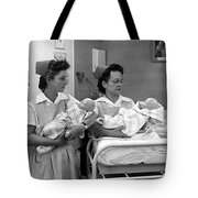 Nurses Training Dummy Babies Circa 1960 Black Tote Bag