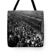 People Greeting Troop Train 19171918 Black White Tote Bag