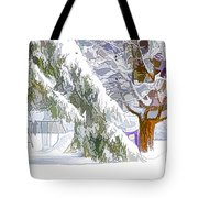 Pine Branch Tree Under Snow Tote Bag