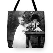 Portrait Headshot Girl Doll December 1903 Black Tote Bag