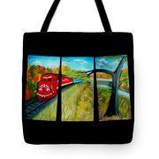 Red Train Passage Dreamy Mirage Tote Bag