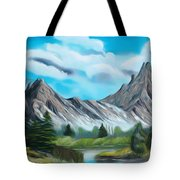 Rocky Mountain Tranquil Escape Dreamy Mirage Tote Bag