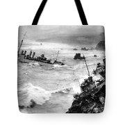 Shipwreck In Rough Seas 1940s Black White Tote Bag