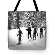 Skiers January 19 1967 Black White 1960s Archive Tote Bag