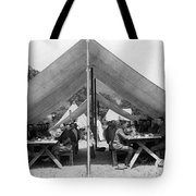 Soldiers Eating In Mess Tent 19061909 Black Tote Bag