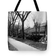 Soldiers In Wagons Road 19001910 Black White Tote Bag
