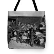 Soldiers Loading Cannon 19171918 Black White Tote Bag