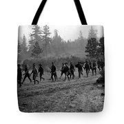 Soldiers Maneuvers Circa 1908 Black White 1900s Tote Bag