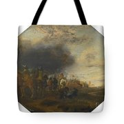 Soldiers Outside A Tented Camp Tote Bag