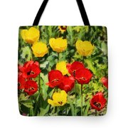 Spring Landscape With Tulips Tote Bag