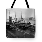 Submarines In Harbor Circa 1918 Black White Tote Bag
