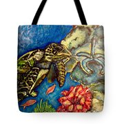 Sweet Mystery Of The Sea A Hawksbill Sea Turtle Coasting In The Coral Reefs Original Tote Bag
