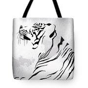 Tiger Animal Decorative Black And White Poster 3 - By Diana Van Tote Bag