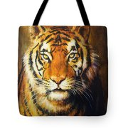 Tiger Head, Color Oil Painting On Canvas. Tote Bag
