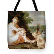 Venus And Cupid Warming Themselves  Tote Bag