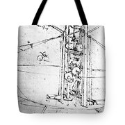 Vertically Standing Bird's Winged Flying Machine Tote Bag