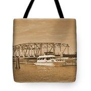 Vintage Swing Bridge In Sepia 2 Tote Bag