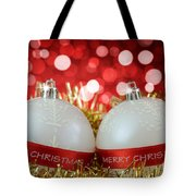 White Christmas Baubles With Merry Christmas Sign  Tote Bag