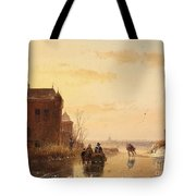 Winter Landscape With A Fort Tote Bag