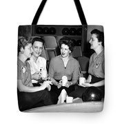 Woman Female Drinking Coffee Bowling Alley Circa Tote Bag