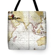 Indian Ocean: Map, 1705 Tote Bag