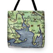 New England Map 1677 Tote Bag
