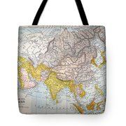 Asia Map Late 19th Century Tote Bag