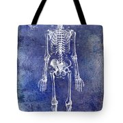 1911 Anatomical Skeleton Patent Blue Tote Bag