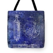 1913 Pocket Watch Patent Blue Tote Bag
