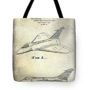 1956 Jet Airplane Patent 2 Blue Tote Bag
