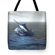 A Blue Marlin Bursts From The Ocean Tote Bag