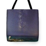A Boat Under The Milky Way In Andros - Greece Tote Bag