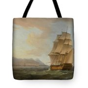 A British Man Of War Before The Rock Of Gibraltar Tote Bag