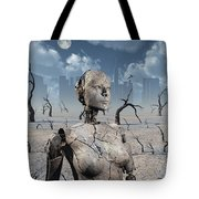 A Broken Down Petrified Android Robot Tote Bag