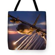 A C-130 Hercules Releases Flares Tote Bag